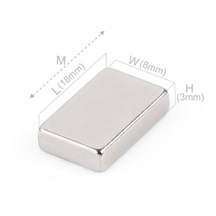 100 Pcs Block Neodymium Magnets | Size: 18×8×3mm | N35 | Nickel(Ni-Cu-Ni) - MAGANETSHUB