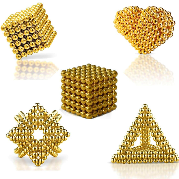 216 Pcs Sphere Neodymium Magnetic balls | Size: OD=3mm | N35| Nickel(Ni-Cu-Ni)| Color: Gold - MAGANETSHUB