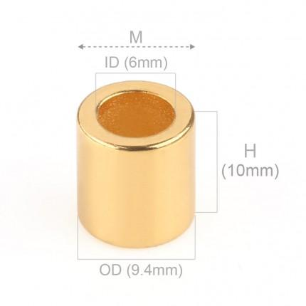 100 Pcs Ring Neodymium Magnets | Size: 9.4mm(OD) x 6mm(ID)x10mm | N35 | Gold(Ni-Cu-Ni-Au) - MAGANETSHUB