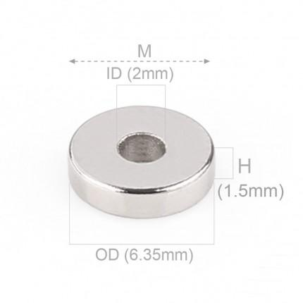 1000 Pcs Ring Neodymium Magnets | Size: 6.35mm(OD) x 2mm(ID)x1.5mm | N35 | Nickel(Ni-Cu-Ni) - MAGANETSHUB