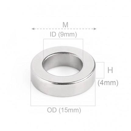 50 Pcs Ring Neodymium Magnets | Size: 15mm(OD) x 9mm(ID)x4mm | N38 | Nickel(Ni-Cu-Ni) - MAGANETSHUB