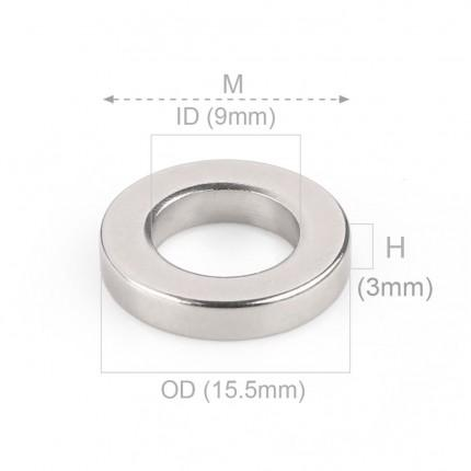 50 Pcs Ring Neodymium Magnets | Size: 15.5mm(OD) x 9mm(ID)x 3mm | N40 | Nickel(Ni-Cu-Ni) - MAGANETSHUB
