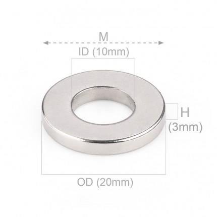 1000 Pcs Ring Neodymium Magnets | Size: 20mm(OD) x 10mm(ID)x 3mm | N40 | Nickel(Ni-Cu-Ni) - MAGANETSHUB