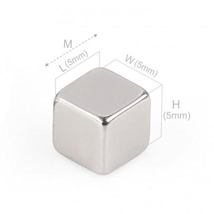 100 Pcs Block Neodymium Magnets | Size:5×5×5mm | N40 | Nickel(Ni-Cu-Ni) - MAGANETSHUB