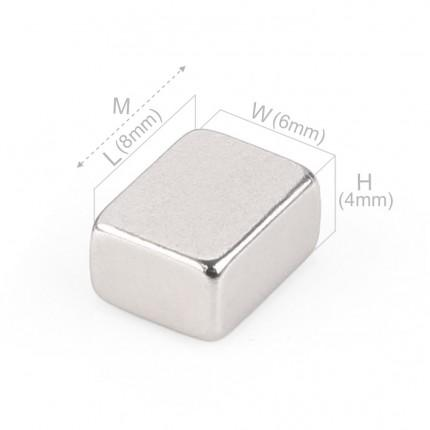 50 Pcs Block Neodymium Magnets | Size: 8×6×4mm | N40 | Nickel(Ni-Cu-Ni) - MAGANETSHUB