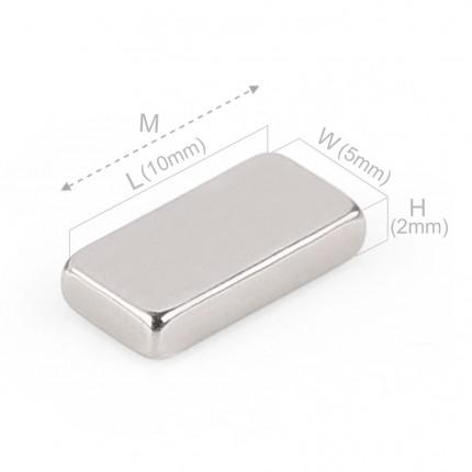 100 Pcs Block Neodymium Magnets | Size: 10×5×2mm | N45 | Nickel(Ni-Cu-Ni) - MAGANETSHUB