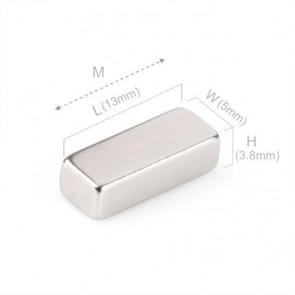 50 Pcs Block Neodymium Magnets | Size: 13×5×3.8mm | N45 | Nickel(Ni-Cu-Ni) - MAGANETSHUB