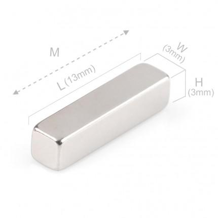 100 Pcs Block Neodymium Magnets | Size: 13×3×3mm | N48 | Nickel(Ni-Cu-Ni) - MAGANETSHUB