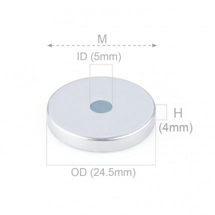 50 Pcs Ring Neodymium Magnets | Size: 25.4mm(OD) x 5mm(ID)x 4mm | N48 |ZN - 8.695kg pull - MAGANETSHUB