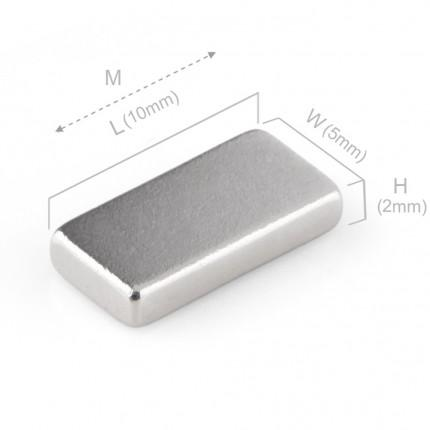 100 Pcs Block Neodymium Magnets | Size: 10×5×2mm | N50 | Nickel(Ni-Cu-Ni) - MAGANETSHUB