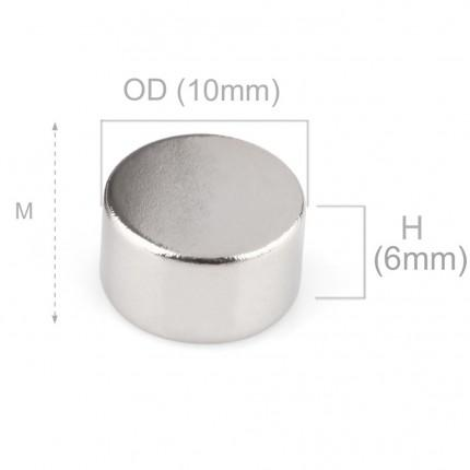 100 Pcs Disc Neodymium Magnets | Size: 10×6mm | N50 | Nickel(Ni-Cu-Ni) - MAGANETSHUB
