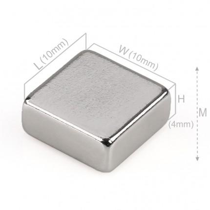 100 Pcs Block Neodymium Magnets | Size: 10×10×4mm | N50 | Nickel(Ni-Cu-Ni) - MAGANETSHUB
