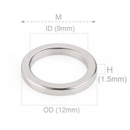 1000 Pcs Ring Neodymium Magnets | Size: 12mm(OD) x 9mm(ID)x 1.5mm | N50 | Nickel(Ni-Cu-Ni) - MAGANETSHUB