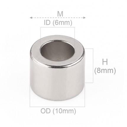 50 Pcs Ring Neodymium Magnets | Size: 15mm(OD) x 6mm(ID)x 6mm | N50 | Nickel(Ni-Cu-Ni) - MAGANETSHUB
