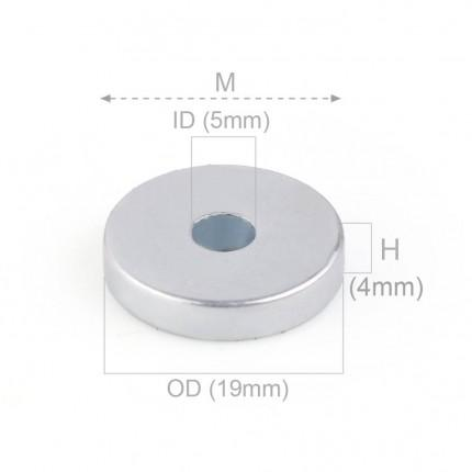 50 Pcs Ring Neodymium Magnets | Size: 19mm(OD) x 5mm(ID)x 4mm | N50 |ZN - 6.613kg pull - MAGANETSHUB
