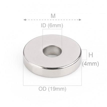 50 Pcs Ring Neodymium Magnets | Size: 19mm(OD) x 6mm(ID)x 4mm | N50 | Nickel(Ni-Cu-Ni) - MAGANETSHUB