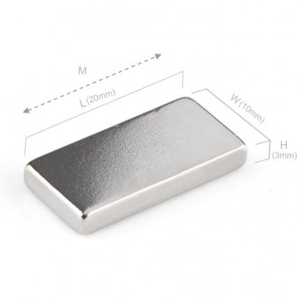 50 Pcs Block Neodymium Magnets | Size: 20×10×3mm | N50 | Nickel(Ni-Cu-Ni) - MAGANETSHUB