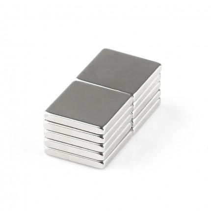 10 Pcs Block Neodymium Magnets | Size: 20×20×3mm | N50 | Nickel(Ni-Cu-Ni) - MAGANETSHUB