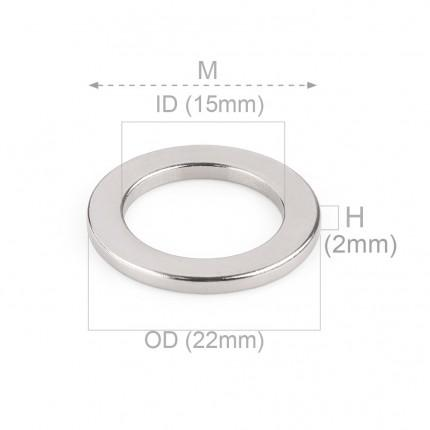 50 Pcs Ring Neodymium Magnets | Size: 22mm(OD) x 15mm(ID)x2mm | N50 | Nickel(Ni-Cu-Ni) - MAGANETSHUB