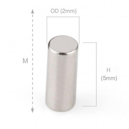 250 Pcs Rod Neodymium Magnets | Size: 2×5mm | N50 | Nickel(Ni-Cu-Ni) - MAGANETSHUB