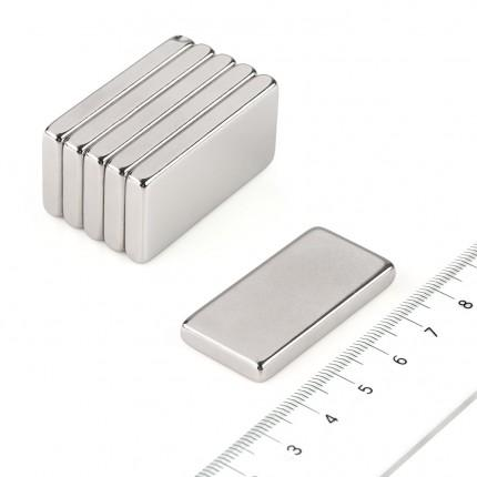 10 Pcs Block Neodymium Magnets | Size: 40×20×5mm | N50 | Nickel(Ni-Cu-Ni) - MAGANETSHUB