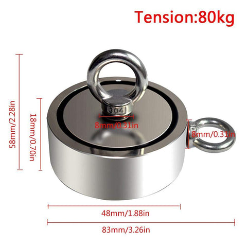 N52 Strong Fishing Neodymium Magnets 48mm| Pull Force :80KG - MAGANETSHUB