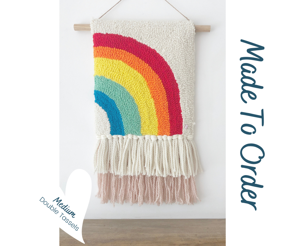 Double Tassel Half Rainbow  - Punch Needle Wall Art  - Made to order