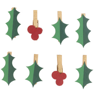 Holly Pegs  - Christmas
