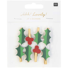 Load image into Gallery viewer, Holly Pegs  - Christmas