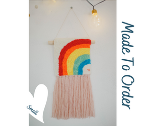 Little Traditional  Rainbow  - Punch Needle Wall Art  - Made to order