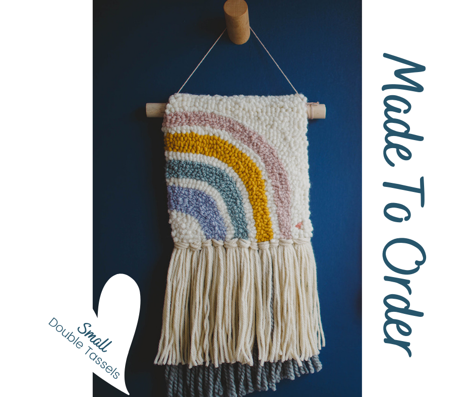 Little Half Rainbow with Double Tassels - Punch Needle Wall Art  - Made to order