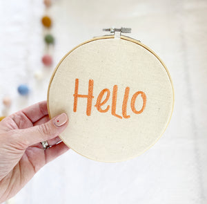 Hello - Embroidery Hoop