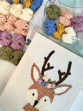 Load image into Gallery viewer, Yarn for the Deer Floral Crown - Punch Needle Kit