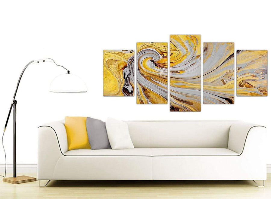 contemporary extra large yellow and grey spiral swirl abstract canvas split set of 5 5290 for your bedroom