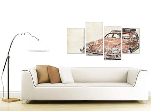 contemporary large vw beetle bug rat look surfer brown volkswagen lifestyle canvas split 4 panel 4279 for your office
