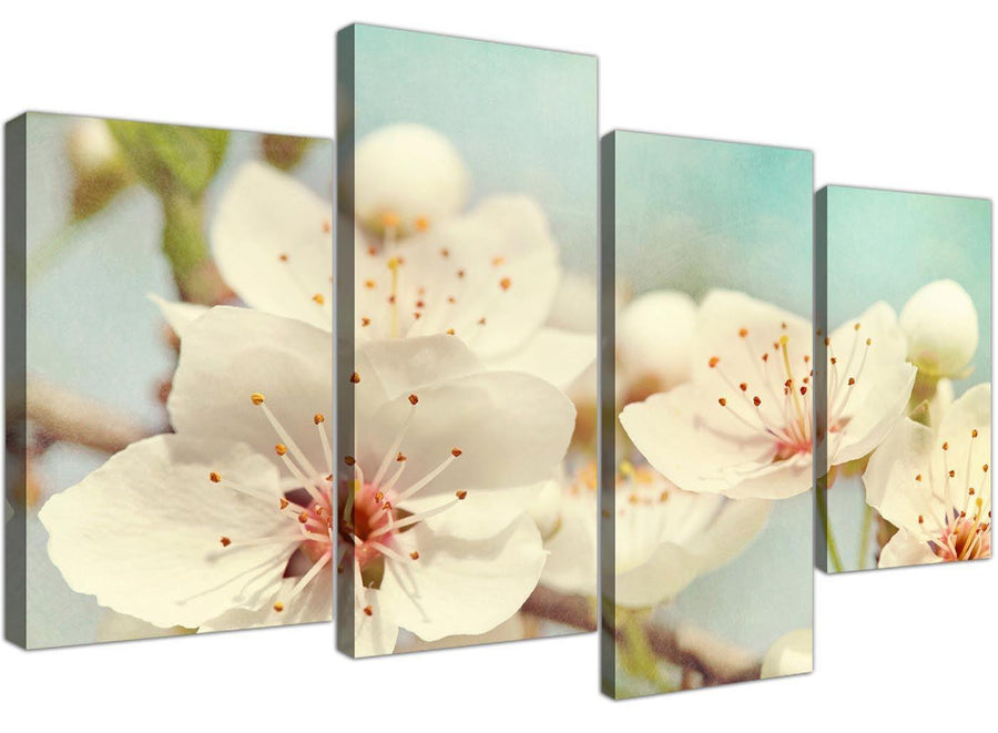 cheap large japanese cherry blossom duck egg blue white floral canvas multi 4 set 4289 for your hallway