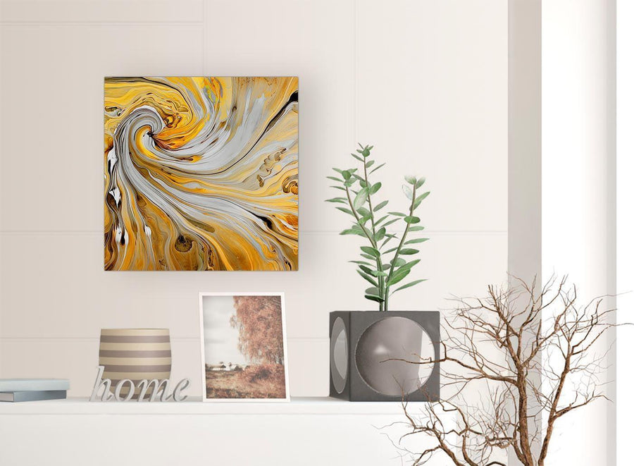 chic mustard yellow and grey spiral swirl abstract canvas modern 49cm square 1s290s for your bedroom