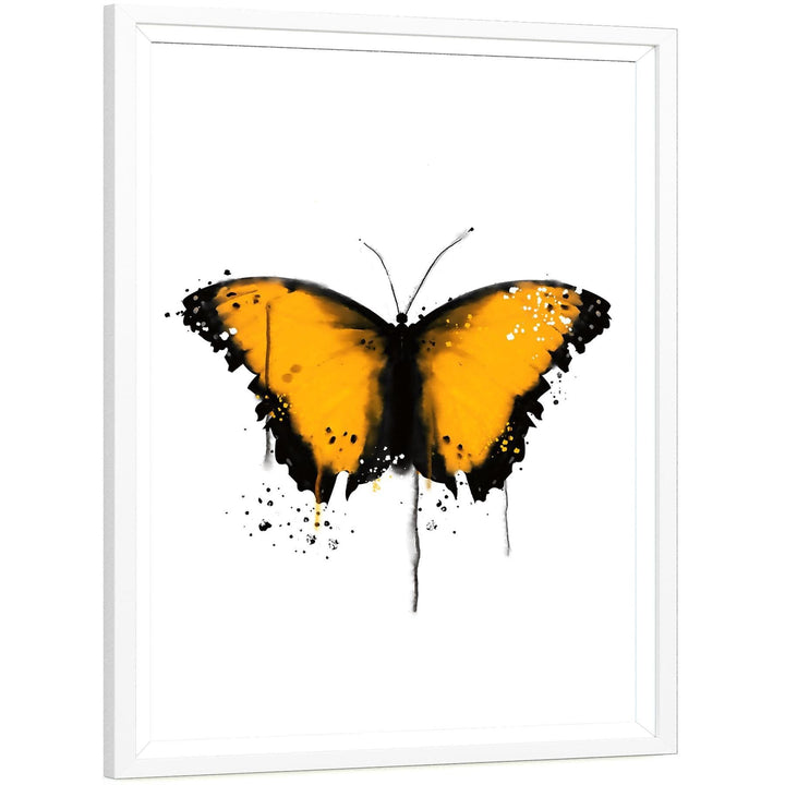 Butterfly Canvas Wall Art Print - Yellow Black