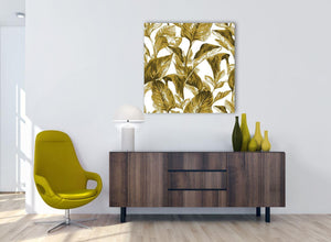 Cheap Mustard Yellow White Tropical Leaves Canvas Modern 79cm Square 1S318L For Your Living Room