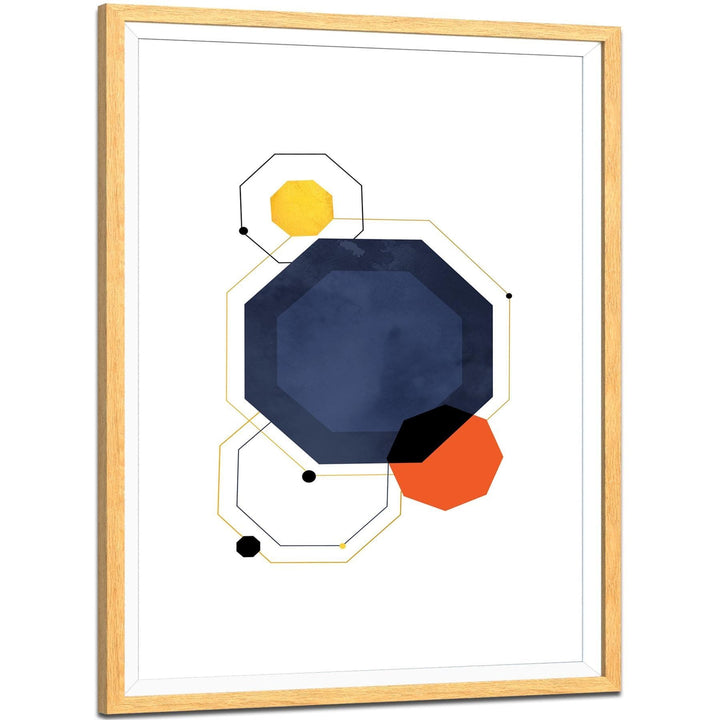 Royal Blue Orange Geometric Graphic Framed Art Prints