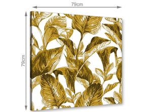 Chic Mustard Yellow White Tropical Leaves Canvas Modern 79cm Square 1S318L For Your Living Room