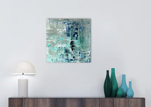 Cheap Turquoise Teal Abstract Painting Wall Art Print Canvas Modern 49cm Square 1S333S For Your Hallway