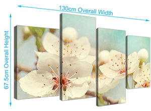 panoramic large japanese cherry blossom duck egg blue white floral canvas split 4 piece 4289 for your bedroom