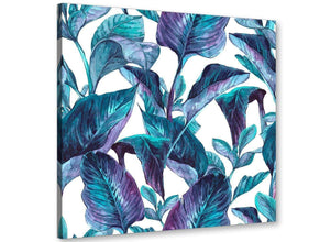 Modern Turquoise And White Tropical Leaves Canvas Modern 79cm Square 1S323L For Your Living Room