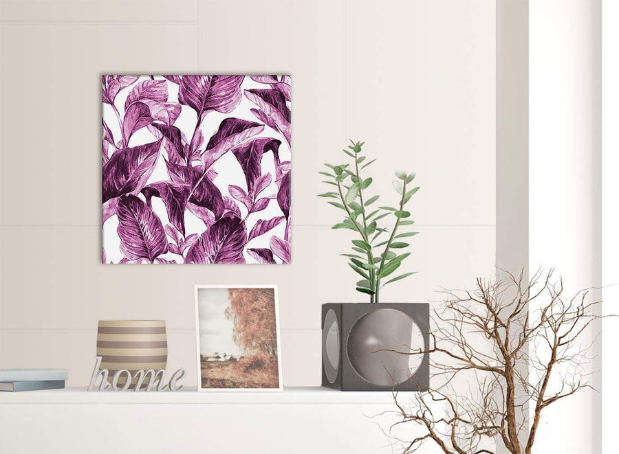 Contemporary Plum Aubergine White Tropical Leaves Canvas Modern 49cm Square 1S319S For Your Bedroom