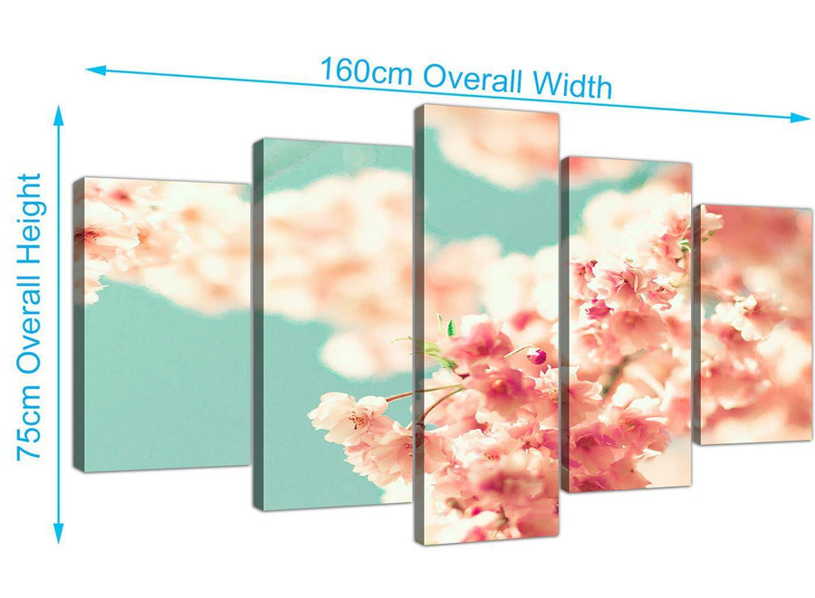 panoramic extra large japanese cherry blossom shabby chic pink blue floral canvas split set of 5 5288 for your living room