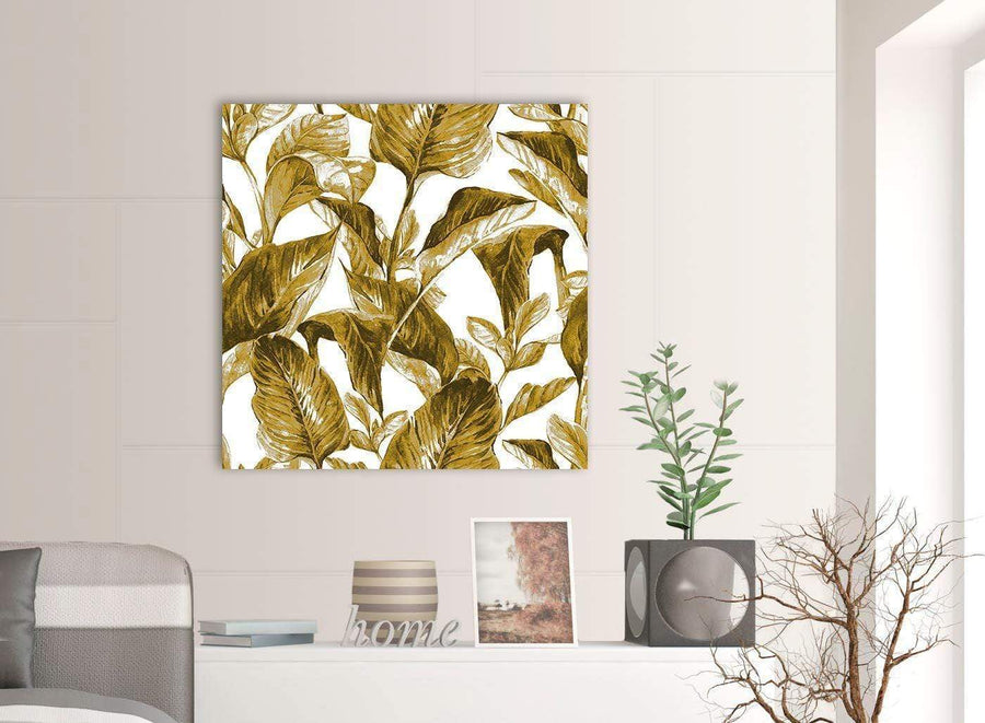 Contemporary Mustard Yellow White Tropical Leaves Canvas Modern 79cm Square 1S318L For Your Dining Room