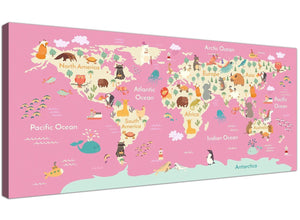 Cheap Pink Animal Map Of World Atlas Animals Canvas Modern 120cm Wide 1316 For Your Girls Bedroom