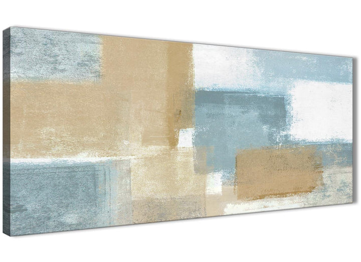 Oversized Blue Beige Brown Abstract Painting Canvas Wall Art Print Modern 120cm Wide For Your Living Room-1350