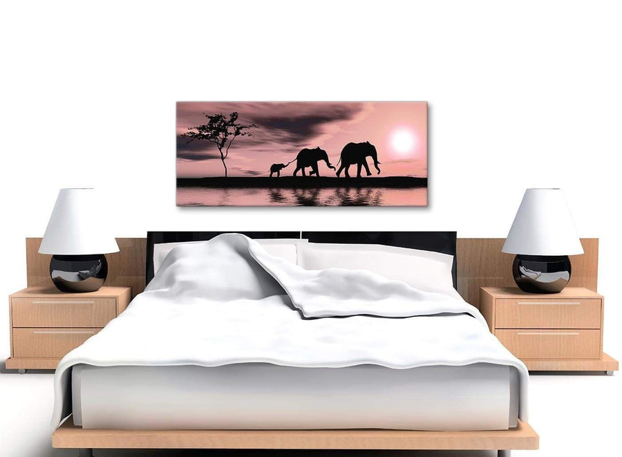 Cheap Blush Pink African Sunset Elephants Canvas Wall Art Print Modern 120cm Wide For Your Dining Room-1361